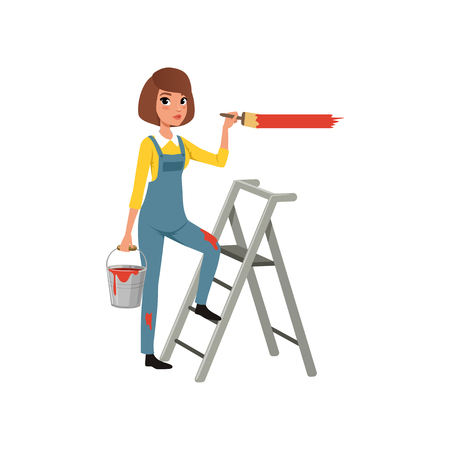 Female painter in uniform with paintbrush in hand standing on step ladder, house renovation concept vector Illustration on a white background