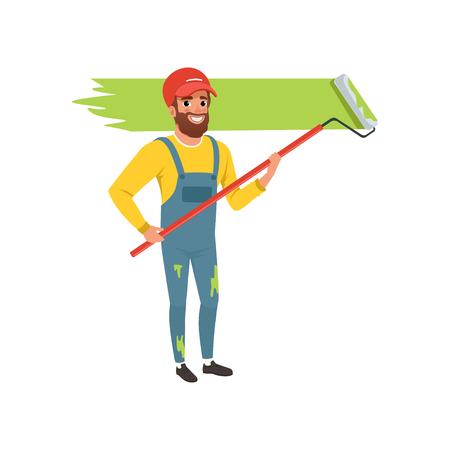 Pittore maschio in uniforme che dipinge la parete con la pittura del rullo, illustrazione di vettore di concetto di rinnovamento della casa su un fondo bianco