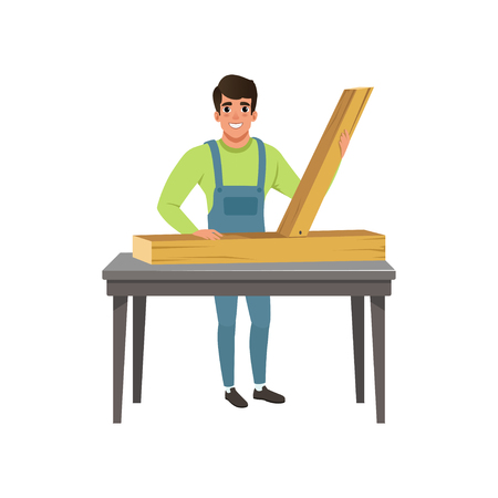 Male professional carpenter character at work vector Illustration on a white background