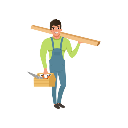 Male professional carpenter in uniform holding wooden plank and tool box vector Illustration on a white background Illusztráció