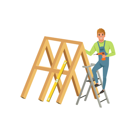 Male professional carpenter building a wooden construction with drill vector Illustration on a white background Illusztráció