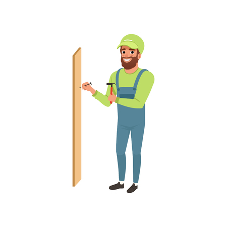 Male professional carpenter hammering a nail in wooden plank vector Illustration isolated on a white background.