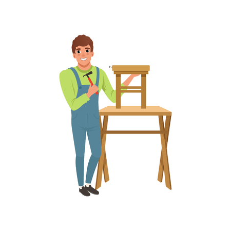Male professional carpenter building wooden chair vector Illustration on a white background