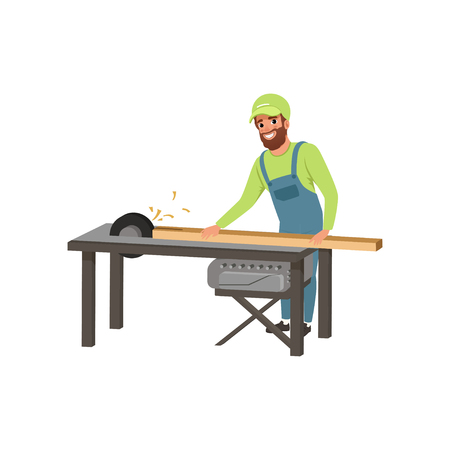 Male professional carpenter in uniform cutting a wooden plank with circular saw vector Illustration on a white background Illusztráció