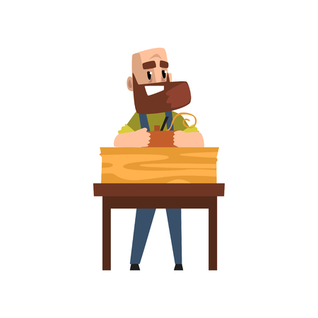 Male carpenter character working with carpentry instrument, craft hobby or profession vector Illustration on a white background Stock Illustratie
