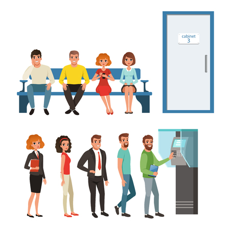 Groups of people standing and sitting in queues near ATM and cabinet door. Cartoon characters of young men and women waiting their turn in line. Flat vector Vettoriali