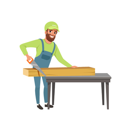 Male carpenter in uniform cutting a wooden plank with hand saw vector Illustration isolated on a white background. Illusztráció