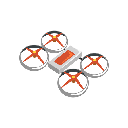 Colorful icon of flying quadrocopter or quadrotor. Unmanned aerial vehicle. Modern technology theme. Design for electronics store or repair service. Cartoon flat vector illustration isolated on white. Illustration