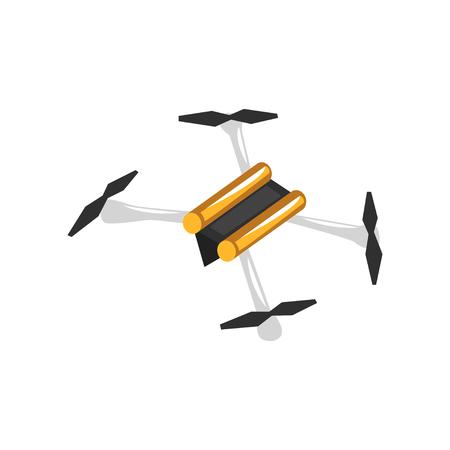 クアドロコプターの漫画イラスト。垂直方向のプロペラを備えた無人航空機装置。エレクトロニクスストアまたは修理サービス向けフラットベクタ