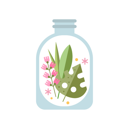 Green leaves and gentle pink flowers in transparent jar. Floral composition in decorative glass. Flat vector for home decor from natural materials