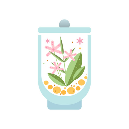 Beautiful floral composition in glass vessel. Green leaves and pink blooming flowers in transparent terrarium. Botanical theme. Flat vector icon