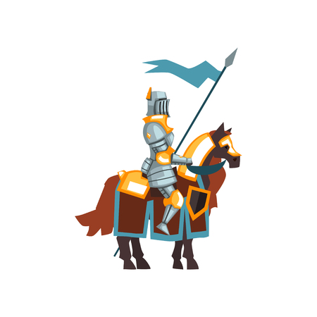 Flat vector icon of middle ages knight sitting on horseback and holding blue flag in hand. Guardian of the kingdom. Cartoon valiant warrior Ilustração
