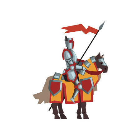 Medieval knight in shiny armor. Brave royal guardian sitting on horse and holding red flag. Flat vector design for postcard or story book Illustration