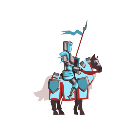 Valorous royal knight riding horse with shield and flag. Medieval warrior in shiny armor. Flat vector design for mobile game or story book