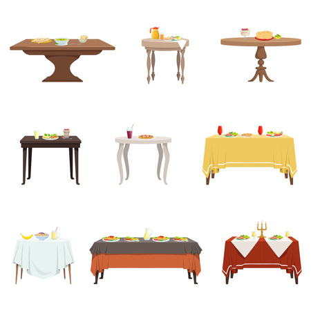 Flat vector set of wooden dinner tables with various food and drinks. Cartoon kitchen furniture. Breakfast, lunch, dinner.