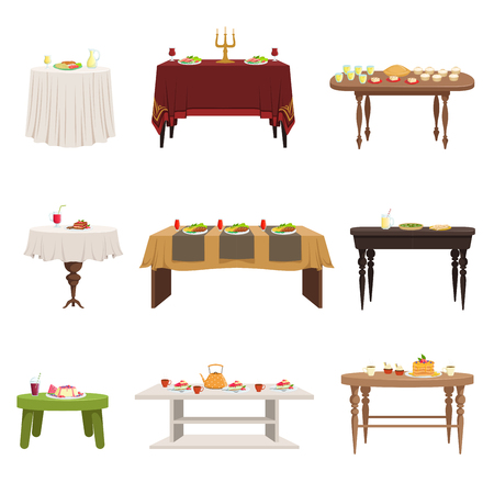 Flat vector set of different types of dining tables with served food and drinks. Kitchen furniture. Elements for home or restaurant interior Illusztráció