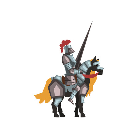 Medieval knight riding horse holding striped lance. Royal warrior in shiny armor and helmet with red feather. Flat vector icon