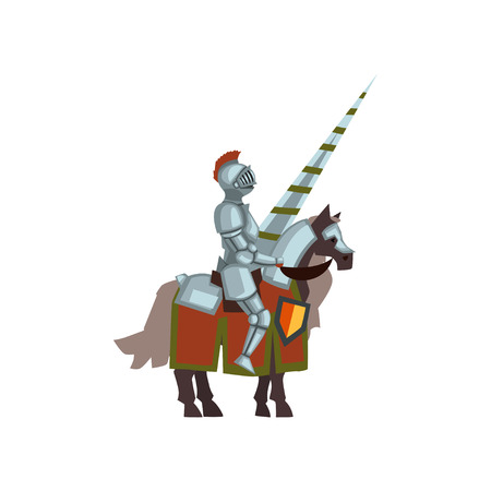 Knight on horse with lance in hand. Brave warrior in steel armor and helmet with red plume. Flat vector design for mobile game or story book