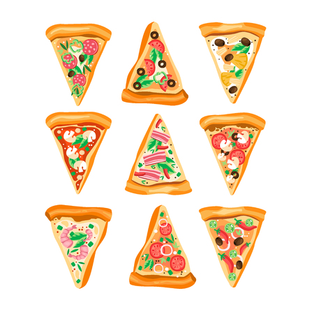 Flat vector set of triangle slices of pizza with different ingredients. Traditional Italian dish.  イラスト・ベクター素材