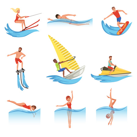 Flat vector set with young men and women involved in various water sports. Archivio Fotografico - 99007529