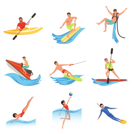 Flat vector set of cartoon people characters involved in extreme water sports.