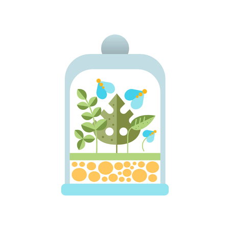 Natural blue flowers and green leaves under glass dome. Flat vector icon of original transparent florariumterrarium. Botanical theme Illustration