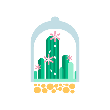 Green cactus plants with pink flowers under transparent dome. Flat vector icon of home succulents in glass florariumterrarium. Botanical theme