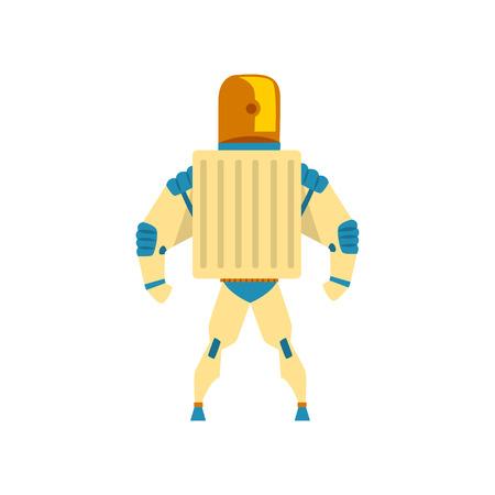 Robot, cyborg, superhero costume, back view vector Illustration isolated on a white background. Illustration