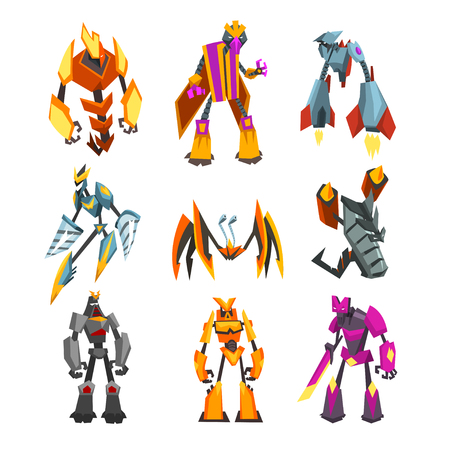 Collection of bright-colored transformer robots. Cartoon characters of futuristic monsters with metal body. Strong cyborgs. Fantasy steel warriors. Flat vector design isolated on white background.