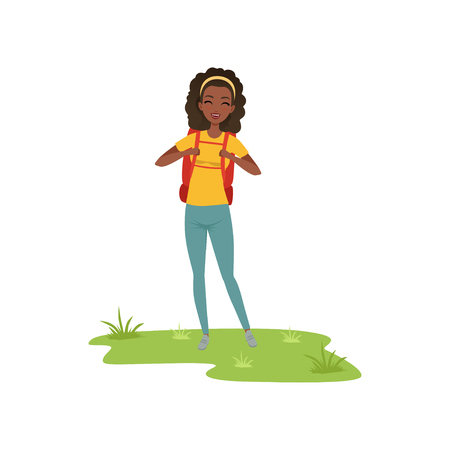 Beautiful african american woman standing with backpack, tourist traveling, camping and relaxing, summer vacations vector Illustration isolated on a white background.