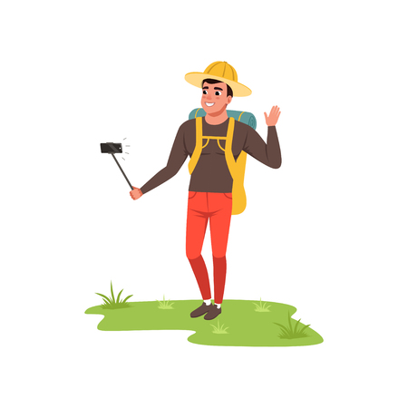 Smiling man in hat standing with backpack and making selfie, hiking tourist traveling, camping and relaxing, summer vacations vector Illustration isolated on a white background.