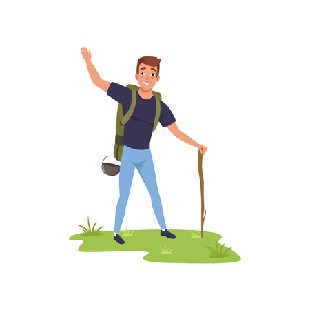 Smiling man standing with backpack and stuff, hiking tourist traveling, camping and relaxing, summer vacations vector Illustration isolated on a white background. Illustration