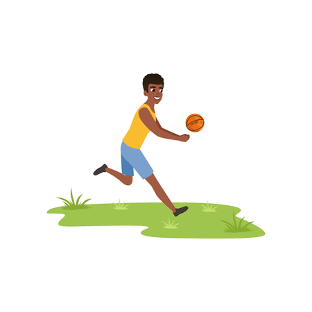Smiling african american man playing volleyball, camper tourist relaxing at summer vacations vector Illustration isolated on a white background. Illustration