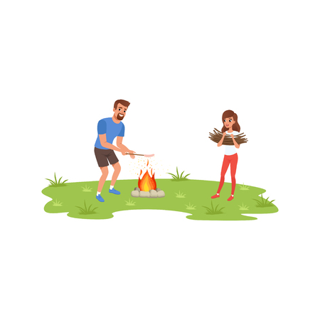 Smiling bearded man roasting sausage over campfire, young woman bringing brushwood, camper tourists relaxing at summer vacations vector Illustration on a white background Illustration