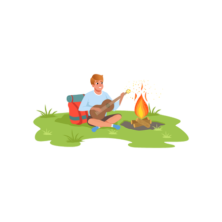 Young man playing guitar sitting next to bonfire, traveling, camping and relaxing concept, summer vacations vector Illustration isolated on a white background. Illustration