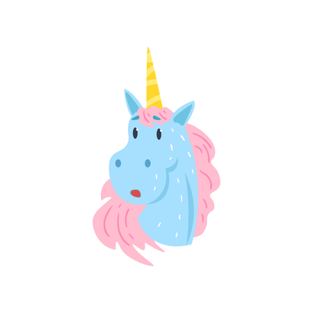 Cute funny surprised unicorn character cartoon vector Illustration on a white background