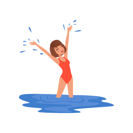 Young woman in red swimsuit standing in blue water of lake or river vector Illustration on a white background Stock Illustratie