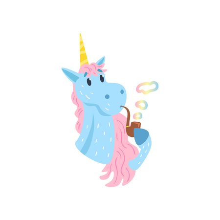 Cute funny unicorn character smoking pipe with rainbow smoke cartoon vector Illustration on a white background Çizim