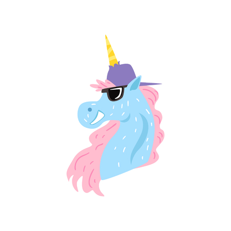 Funny unicorn character wearing cap and sunglasses cartoon vector Illustration on a white background Çizim
