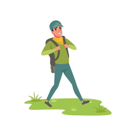 Smiling man walking with backpack, tourist traveling, camping and relaxing, summer vacations vector Illustration on a white background