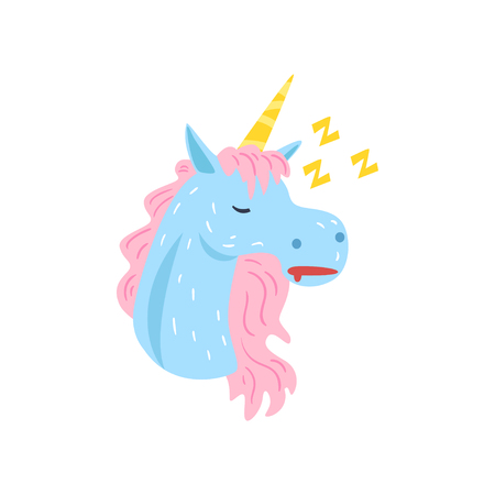 Cute funny unicorn character sleeping and snoring cartoon vector Illustration on a white background