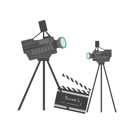 Cinematography equipment, cinema and movie vector Illustration on a white background