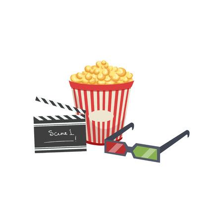 Cinema set, popcorn, clapper board and 3d glasses vector Illustration on a white background