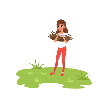Young woman bringing brushwood, camper tourist relaxing at summer vacations vector Illustration isolated on a white background.