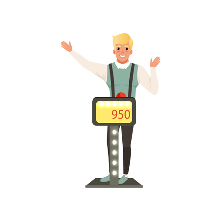 Smiling man taking part at quiz show, player answering questions standing at stand vector Illustration isolated on a white background. Stock Vector - 99064407