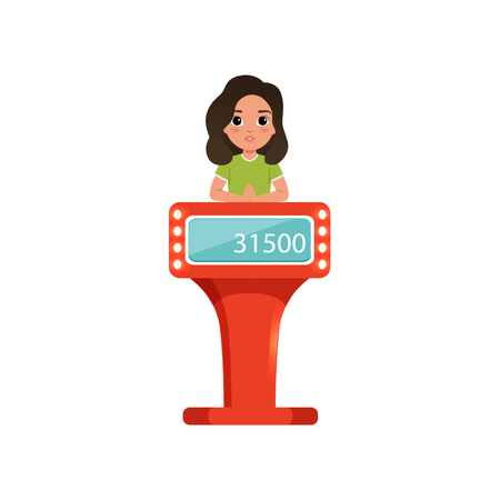 Cute girl taking part at quiz show, young player answering questions standing at stand with button vector Illustration on a white background Stock Illustratie