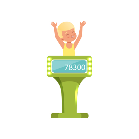 Smiling boy taking part at quiz show, young player answering questions standing at stand vector Illustration isolated on a white background. Illustration