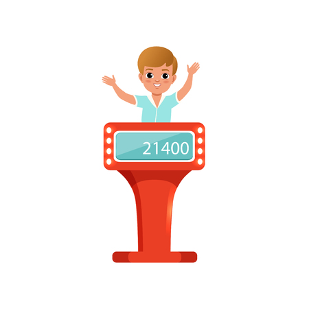 Cute little boy taking part at quiz show, young player answering questions standing at stand vector Illustration isolated on a white background.