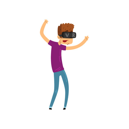 Young man cartoon character using virtual reality goggles, gaming cyber technology, virtual reality concept vector Illustration on a white background Ilustração