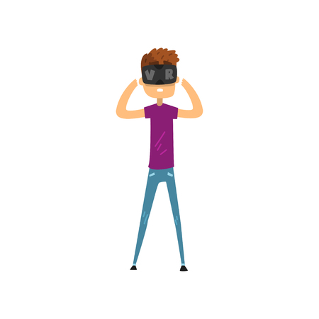 Young man cartoon character using virtual reality goggles, gaming cyber technology. Illustration